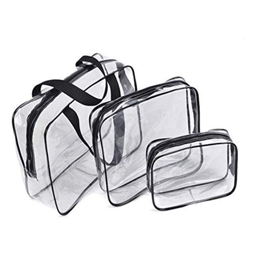 TRUEGRIT 3PCS PVC Lady Zipper Transparent Cosmetic Bag Cosmetic Storage Bag Bathroom Toilet Bag Bra Storage Bag Black