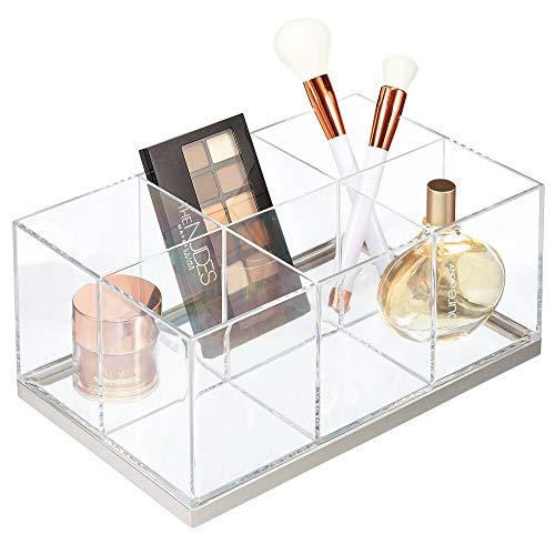 mDesign Make-up Organizer – ansteigende Make-up Aufbewahrung mit 6 Fächern aus Kunststoff – Schminkaufbewahrung für Lidschatten, Puder, Lipgloss etc. – durchsichtig und mattsilberfarben
