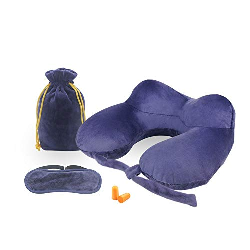 Travel Pillow, Disifen Inflatable Neck Pillow, Comfy & Compact, Neck/Back/Seat Cushion Portable Travel Set for Airplane Bus Office (Dark Blue)