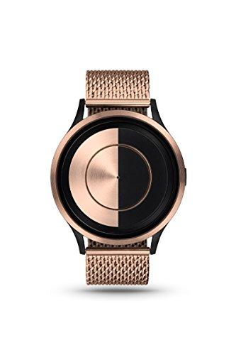 ZIIIRO Lunar Rose Gold Metallic Unisex Armbanduhr Analog Quarz minimalistische Designer Uhr Halbmond mit Metallarmband Mesh
