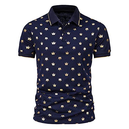 Camisa de verano para hombre, de Star Chain Bronzing Print, camisa polo de manga corta con solapas, corte ajustado, para tiempo libre G_Marine M