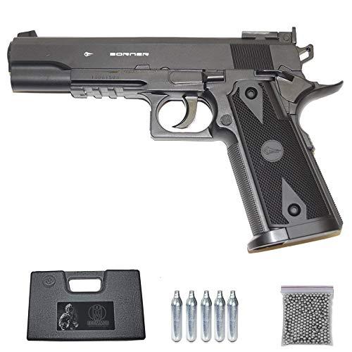 WIN 304 Borner Pistola con cápsulas de Aire comprimido (CO2) Calibre 4.5mm, Munición de Bolas BB's de Acero con una Capacidad de Cargador de 19 Disparos. Semiautomática. Potencia < 3.5 Julios