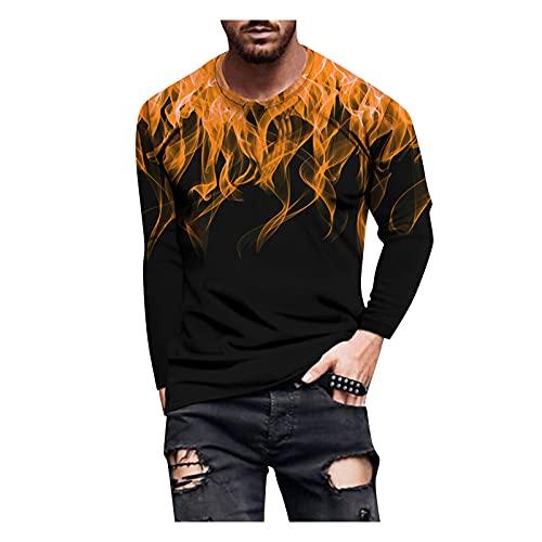 Xmiral T-Shirt Uomo T-Shirt a Manica Lunga Uomo T-Shirt Top Uomo Autunno Slim Casual O Collo Camicetta Manica Lunga Stampata (M,1caffè)