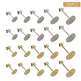 100 Stück 5 Größe Edelstahl Ohrringe Stecker Flache Pad und 100 Stück Silber und Gold Butterfly Ohrstopper für Ohrring Herstellung