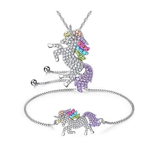 Unicorn sieradenset eenhoorn armband en ketting modesieraad met eenhoornhanger
