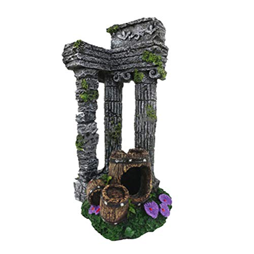 Balacoo Paisaje del Acuario Vintage Resina Cuadrado Ruinas Romanas Plantas de Roca Ornamento Acuario Pecera Diseño del Paisaje Decoraciones