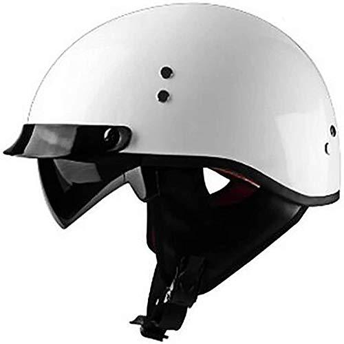 ZHXH Convertible Harley retro medio casco adultos hombres y mujeres lancha motora crucero casco scooter certificación DOT 4/3 con visera gafas de sol bicicleta viaje luz de la calle gorro medio casco
