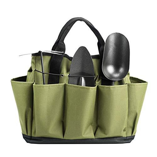negaor Bolsa de la compra de jardín con 8 bolsillos, kit de herramientas de jardinería, organizador de herramientas de mano