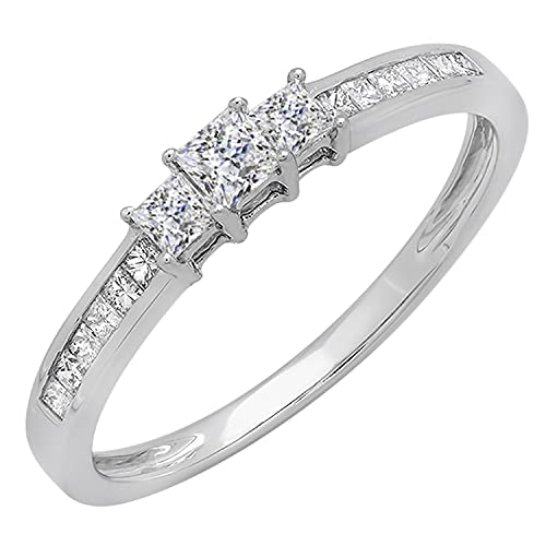 Dazzlingrock Collection 0.65 Carat (ctw) Princess Cubic Zirconia CZ Bridal 3 Stone Engagement Ring   925 Sterling Silver, Size 7