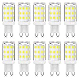 Bombillas LED G9 sin parpadeo 3W Equivalentes a 20W 25W 28W 33W Bombillas halógenas, Blanco frío 6000K, lámpara LED de ahorro de energía con enchufe G9, no regulable, CA 220-240V, paquete de 10