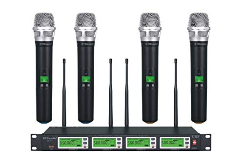 in budget affordable GTD Audio 4×800 Adjustable Channel Wireless Wireless Handheld UHF Diversity Microphone…