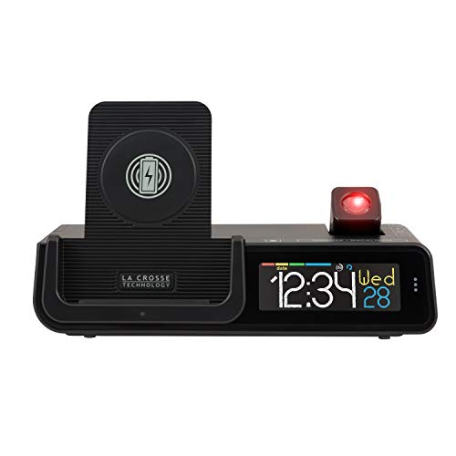 La Crosse Technology C80765 Wattz 3-n-1 Projection Alarm Clock and Wireless Charger, Pack of 1, Black