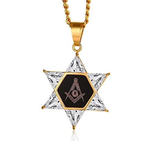 VNOX Cubic Zirconia de Acero Inoxidable para Hombre Estrella de David Hexagon Colgante de Masonic Lucio Masonic Mason Oro