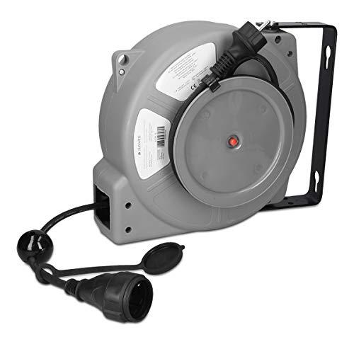 Navaris Automatik Kabeltrommel 15m mit Einzug - Schutzklasse IP44 Kabeltyp H05RR-F 3G1,5 - Kabel Trommel Rolle selbstaufrollend für die Wandmontage