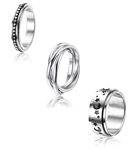 CASSIECA 3 Pcs Stainless Steel Spinner Ring for Women Mens Fidget Band Cool Rings Moon Star Celtic Stress Relieving Wide Wedding Promise Rings Set(Size 5-12)