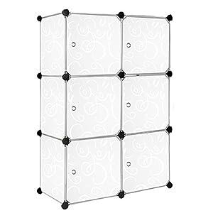 MCTECH® Sistema de estantería bricolaje armario estantería modular plegable cajas de plástico de porte-sabot de armario ropero (6, con motivo)