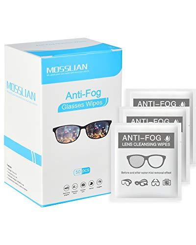 Mosslian - Toallitas limpiadoras antivaho para gafas de gafas, casco de moto, gafas de cámara de lentes (50 unidades)