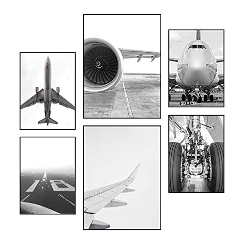 Reframed® Juego de pósteres prémium – apto para marcos de fotos Ikea   2 x 30 x 40 cm y 4 x 21 x 30 cm   decoración de pared elegante   Aviación – sin marco