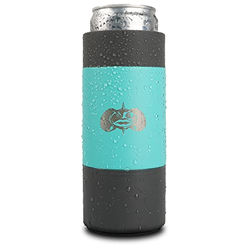 Toadfish Slim Non-Tipping Can Cooler for 12oz Cans - Suction Cup Cooler For Beer & Soda - Stainless Steel Double-Wall Vacuum Insulated Cooler - Sturdy Beverage Holder - (Teal)