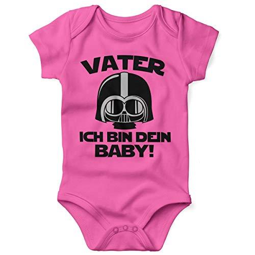 Mikalino Babybody mit Spruch für Jungen Mädchen Unisex Kurzarm Vater - ich Bin Dein Baby! | handbedruckt in Deutschland | Handmade with Love, Grösse:56, Farbe:pink