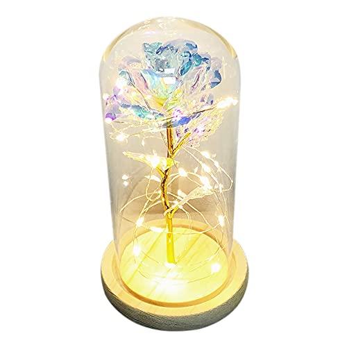 Beauy La Bella y la Bestia Rosa Chapado en Oro con Lámpara LED de DDmo de cristal para fiesta de boda, regalo para el día de la madre, color blanco