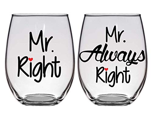 Gay Wedding, Engagement, Anniversary Gift - Mr. Right, Mr. Always Right - Set of Two (2) Premium 21oz Stemless Wine Glasses