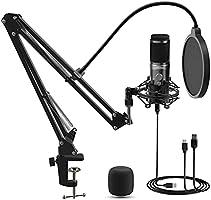 Microfono a Condensatore, LIFEBEE USB Microfono di Registrazione a Condensator per Desktop Laptop MAC o Windows telefono...