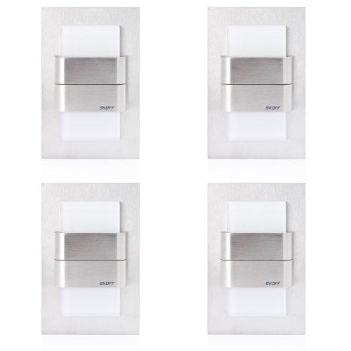 4er Set KINKIET DUO TANGO, LED Treppen- Wandbeleuchtung, Edelstahlgehäuse, warmweiß, incl. Transformator