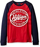 Tommy Hilfiger Boys' Adaptive Long Sleeve T Shirt with Touch Fastener Closure, racing red Small