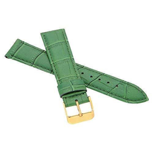 MARCHEL Croco Gold LM-180 Lederarmband 19 mm Grün Krokoprägung Uhrenarmband Krokodilmuster Uhrband Rindsleder