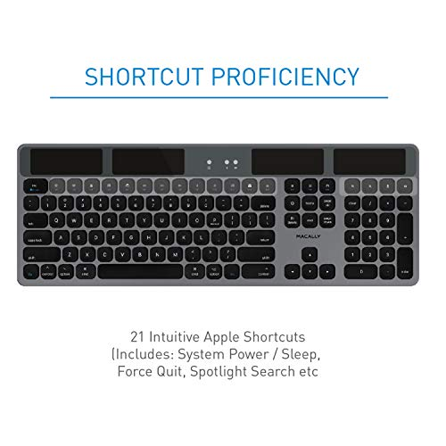 Macally Bluetooth Wireless Solar Keyboard for Mac - Rechargeable via Any Light Source (150 hr Battery Life) - Solar Powered Mac Bluetooth Keyboard with Numeric Keypad