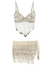 Silver2 Beach Wrap Sequins Tassel Mini Skirt Hip Scarf Belt