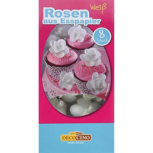 DECOCINO Rosen aus Esspapier in Weiß (8 Stk.) ideal als essbare Blumen für Hochzeits-Deko & Geburtstags-Deko auf Torten, Kuchen, Cup-Cakes, Muffins!