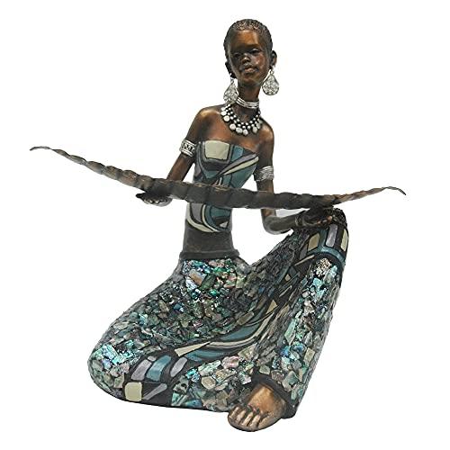 Figura de Africana Envejecida de Resina Dorada y Azul de 21x12x22 cm - LOLAhome