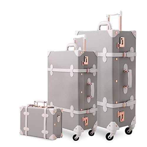 UNITRAVEL Koffer-Set Vintage Hartschalen 3-teilig Hellrosa