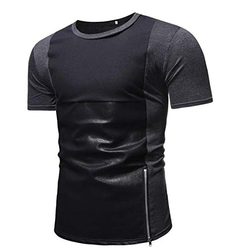 SGJKG Patchwork Zipper t-Shirt Homme Été Slim Fit Hip Hop À Manches Courtes Streetwear Tops-XXL