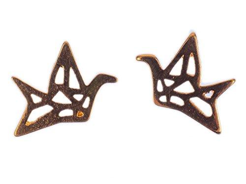 Miniblings pendientes pendientes de la grúa formas de origami de aves en oro rosa - hechos a mano pendientes de joyería de moda pendientes conecto