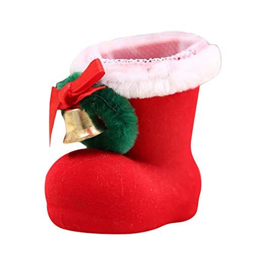 unknow Rlmobes - Caja de caramelos de Navidad con forma de bota para decoración de escritorio, talla XS