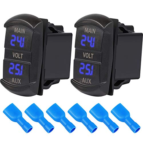 2 Pieces LED Digital Panel Double Voltmeters Rocker Switch Style Voltage Monitors Motorcycle Voltmeters for Car RV Truck Boat Dual Battery Blue