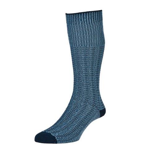 HJ Hall Herren Socken für den Alltag Kniestrumpf, Einfarbig Gr. Large, Blau - Blau