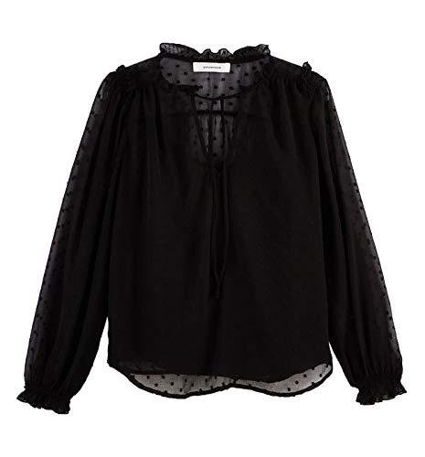 Promod Bluse aus Tupfenmull Schwarz 34