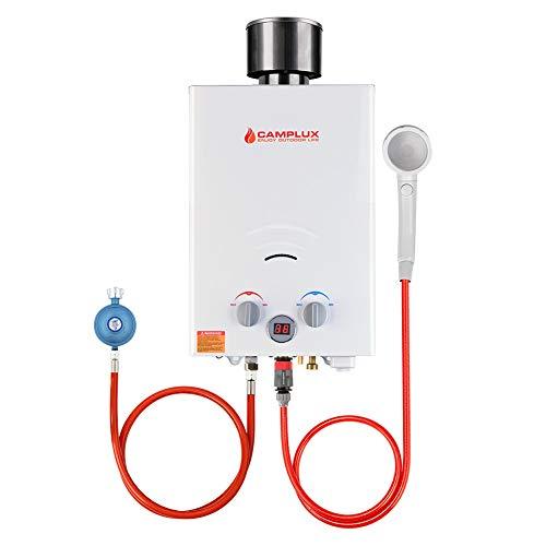 Camplux BW158C - Calentador de agua de gas con cubierta para lluvia, depósito LPG, portátil, 6 litros, 12 kW, 50 mbar, para ducha de camping