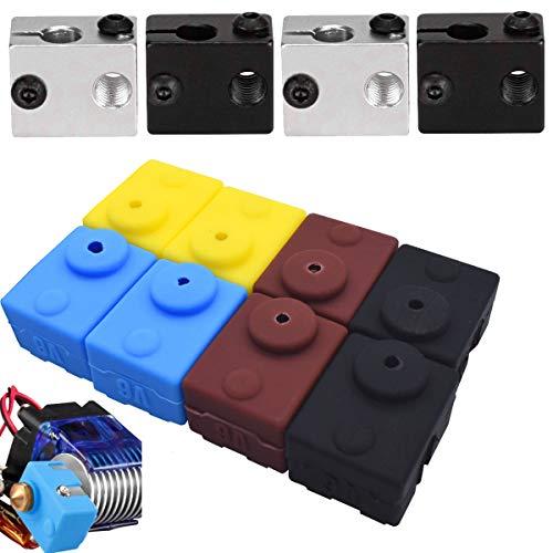 OSUTER 4PCS Impresora 3D Bloque Calentador de Aluminio V6 con 8PCS Calcetines De Silicona para Ender3 de impresora Accesorios