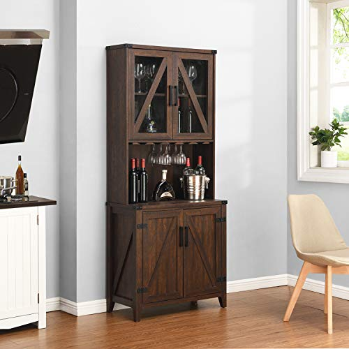 Bar Cabinet with Upper Glass Cabinet (Mahogany)