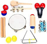 Boxiki kids Musical Instrument Set 16 PCS Rhythm & Music Education Toys for Kids. Includes Clave Sticks, Shakers, Tambourine, Wrist Bells & Maracas for Kids. Natural Toys with Carrying Case.