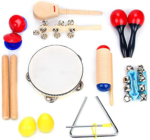 Boxiki kids Musical Instrument Set 16 PCS | Rhythm & Music Education Toys for Kids | Clave Sticks, Shakers, Tambourine, Wrist Bells & Maracas for Kids | Natural Toys with Carrying Case