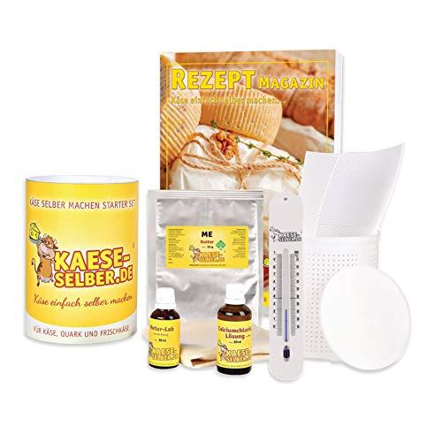 Käse selber machen - Starter Set inkl. Rezeptmagazin und Videoanleitungen (für Käse, Quark und Frischkäse); Traditionelle Käseherstellung