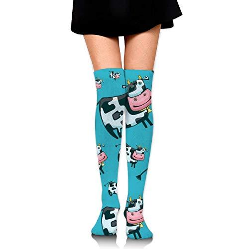 Cartoon Kuh Blauer Hintergrund Lustige Verrückte Socken Für Frauen Kniehohe Socken Lange Sportlich Sport Rohr Lässig Stiefel Strümpfe Beinlinge
