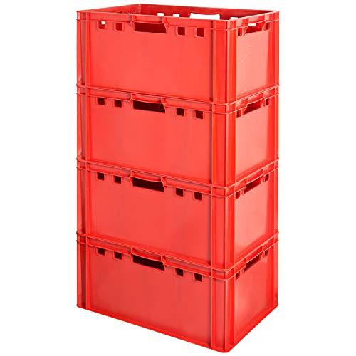 4 Stück Fleischkiste E3 Fleischkiste Rot Fleischerkiste E3 Fleischkisten E3 Kiste E3 Fleischkiste Eurobox E3 Lebensmittelecht 60 x 40 Metzgerkiste E3 Kingpower