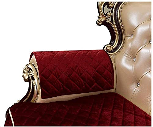 ADIS Fundas antideslizantes para reposabrazos de sofá, color rojo, de terciopelo, para sillones, antideslizante, par de protectores de muebles, 50 por 60 cm, color burdeos